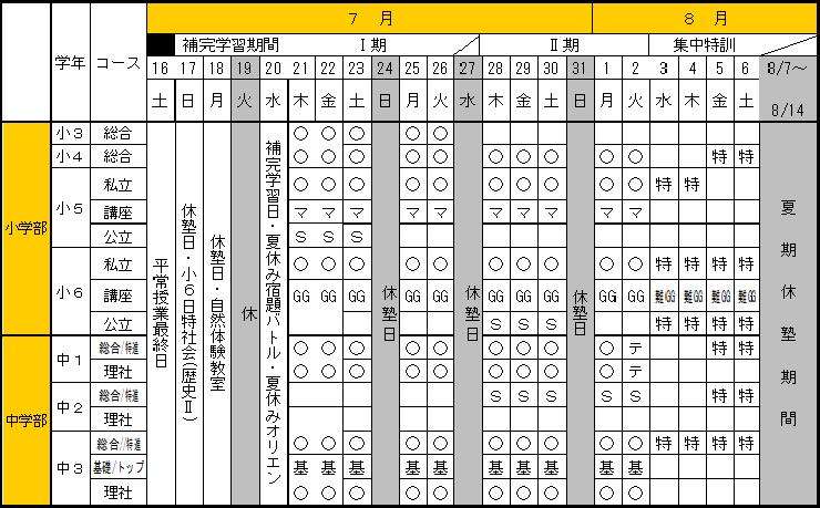 夏期スケジュール表1